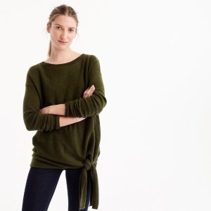 Tie-waist boatneck sweater