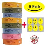 BUGSLEAVE Mosquito Repellent Bracelet,8 Pack and 12 patch Waterproof Bug Insect,BUGSLEAVE Non-Toxic Travel Insect Repellent, Safe Deet-Free Band, Soft Fiber Material For Kids & Adults, Keeps Insects & Bugs Away