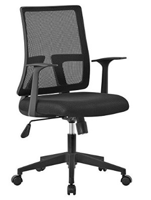 LANGRIA Mid-Back Office Task Chair Upholstered Seat, Breathable Mesh Backrest, Ergonomic Design with Armrests, Reclining Swivel Chair, Max 285 lbs., for Home, Study, Office Use (Black)