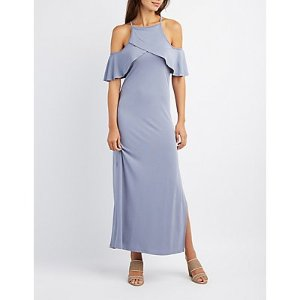 Ruffle-Trim Cold Shoulder Maxi Dress | Charlotte Russe