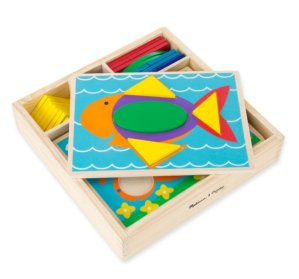 $9.42 Melissa & Doug Beginner Wooden Pattern Blocks Educational Toy With 5 Double-Sided Scenes and 30 Shapes