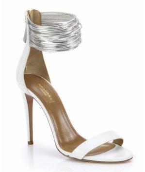 $270.99(原价$755)Aquazzura 白色绑带高跟鞋