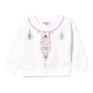 Kenzo Kids White Embroidered and Jewelled Necklace Sweatshirt | AlexandAlexa