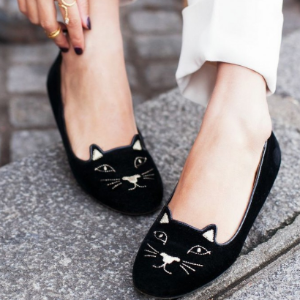 Great Britain Velvet Kitty Flats