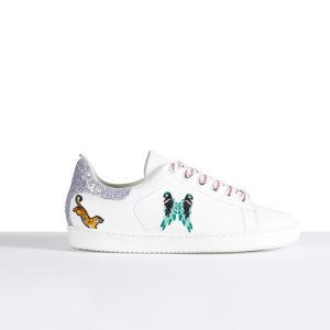 FUNNY Leather trainers with embroidery - Shoes - Maje.com