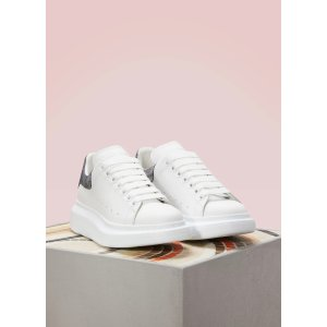 Metallized detail leather sneakers
