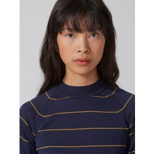 Machine-Washable Merino Mockneck Sweater in Dark Sapphire