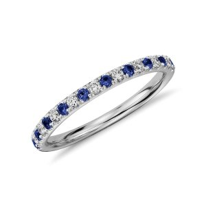 Riviera Pavé Sapphire and Diamond Ring in 14k White Gold (1.5mm) | Blue Nile