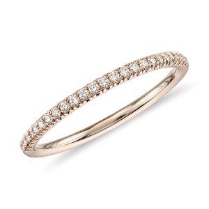 Petite Micropavé Diamond Ring in 14k Rose Gold (1/10 ct. tw.)  | Blue Nile
