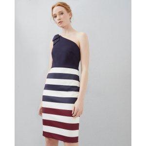 Rowing Stripe one shoulder dress