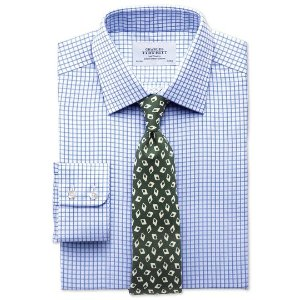 Classic fit twill grid check sky blue shirt | Charles Tyrwhitt