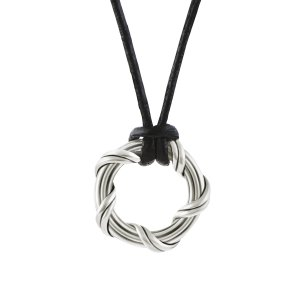 Explorer Circle Necklace in sterling silver and leather 1