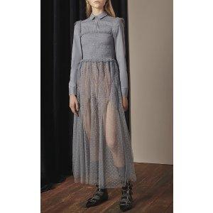 Sheer Tulle Embroidered Midi Dress | Moda Operandi
