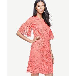 Leaf Lace Flare Sleeve Shift Dress | Ann Taylor