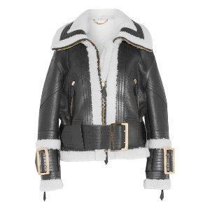 Burberry Leather-trimmed shearling jacket