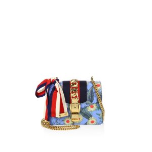 Sylvie Flora Leather Mini Chain Shoulder Bag by Gucci