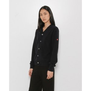 Comme des Garçons Play V-Neck Small Heart Cardigan in Black + Red Heart