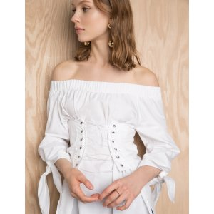 Corset TIe White Off The Shoulder Top