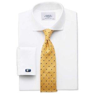 Extra slim fit spread collar non-iron twill white shirt | Charles Tyrwhitt