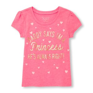 Toddler Girls Short Sleeve Glitter 'Daddy Says I'm A Princess...' Neon Graphic Tee | The Children's Place
