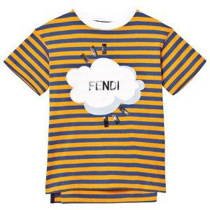 Fendi Orange and Navy Stripe Branded Tee | AlexandAlexa