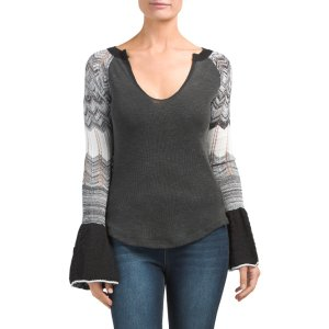 Sunshine Contrast Sleeve Thermal Top