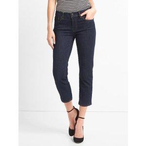 Mid rise slim crop jeans