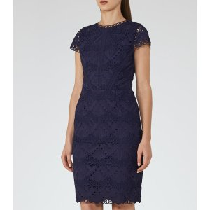 Liza Night Navy Graphic Lace Dress - REISS