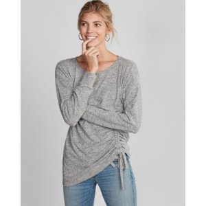 Plush Jersey Front Tie Long Sleeve Tee | Express