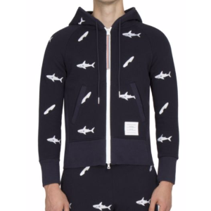 Thom Browne - Shark Embroidered Zip-Up Hoodie - saks.com