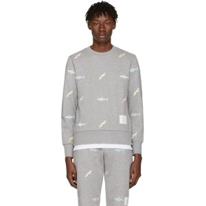 Thom Browne: Grey Shark & Surfboard Pullover | SSENSE