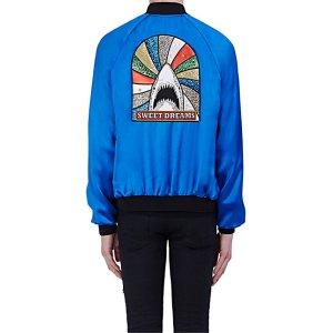 Saint Laurent Patch-Appliquéd Satin Bomber Jacket | Barneys New York