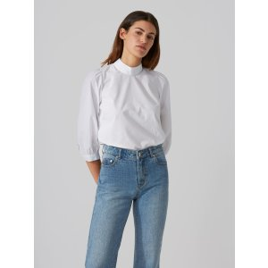 Papertouch Poplin Mockneck Top in Bright White