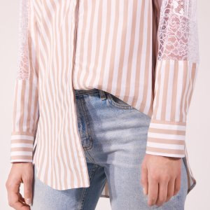 Striped Shirt With Lace Inset - Tops & Shirts - Sandro-paris.com