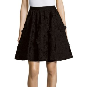 Alice + Olivia - Earla Floral Lace Embroidered A-Line Skirt - saksoff5th.com