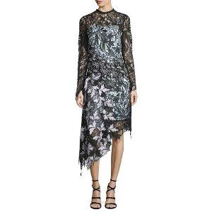 Self-Portrait Vine Floral Lace Asymmetric Midi Dress