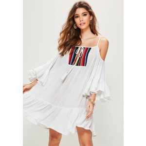 Missguided - White Cheesecloth Cold Shoulder Swing Dress
