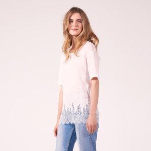 Linen T-Shirt With Lace Flames - Tops & Shirts - Sandro-paris.com