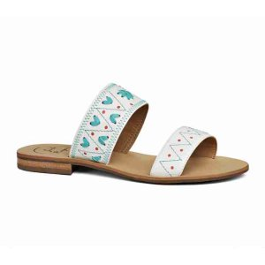 Adair Double Banded Sandal | Blue & White Double Strap Sandal