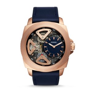 Privateer Sport Mechanical Blue Leather Watch - Fossil