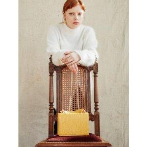J114Caiman mini square cross body bag yellow