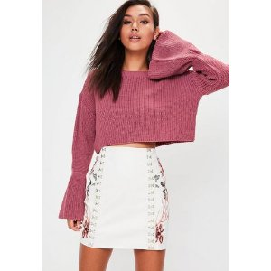 Missguided - Pink Flared Sleeve Knitted Cropped Sweater