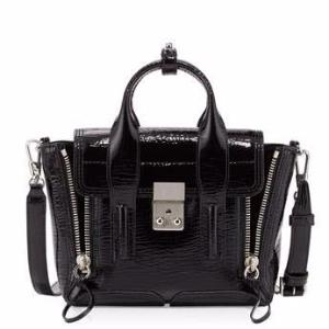 Pashli Mini Patent Satchel Bag, Black