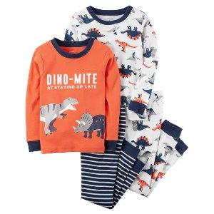 4-Piece Dino-Mite Snug Fit Cotton PJs