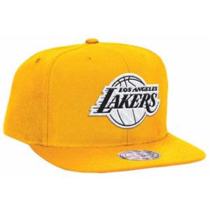 Mitchell & Ness NBA Black & White Logo Snapback - Men's - Accessories - Los Angeles Lakers - Gold