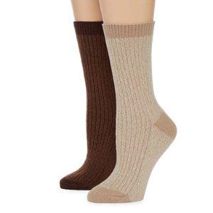 Columbia® Womens 2-pk. Marled Ribbed Crew Socks
