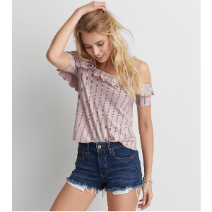 AEO Soft & Sexy Gingham Top , Blush | American Eagle Outfitters