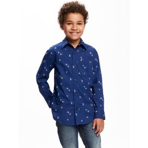 Classic Printed Poplin Shirt for Boys
