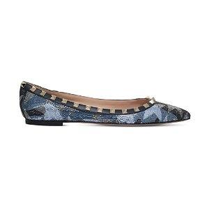 VALENTINO - Rockstud Camustars crystal-embellished leather ballet flats | Selfridges.com