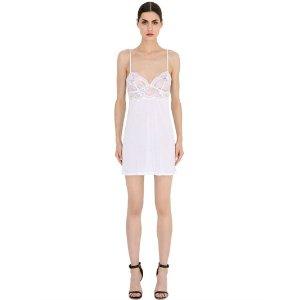 LA PERLA - BEGONIA MODAL & LACE BABYDOLL DRESS - LINGERIE - WHITE - LUISAVIAROMA